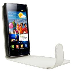 White Leather Case/ LCD Protectors for Samsung Galaxy S II AT&T i777 - Thumbnail 2