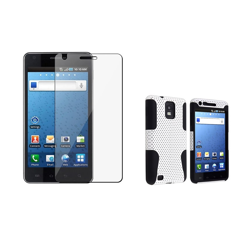 Black/ White Hybrid Case/ Screen Protector for Samsung i997 Infuse 4G