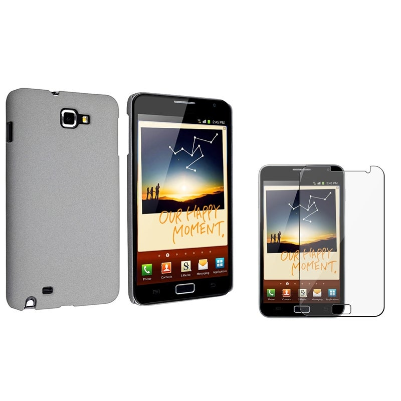 Grey Matte Case/ Screen Protector for Samsung Galaxy Note N7000