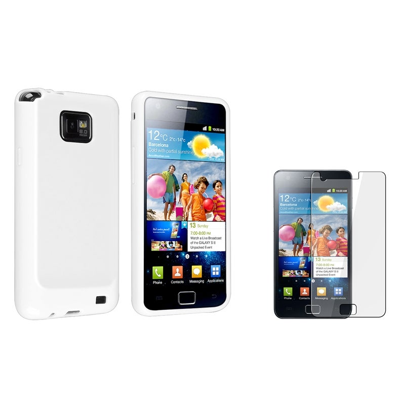 White TPU Case/ Screen Protector for Samsung Galaxy S II i9100