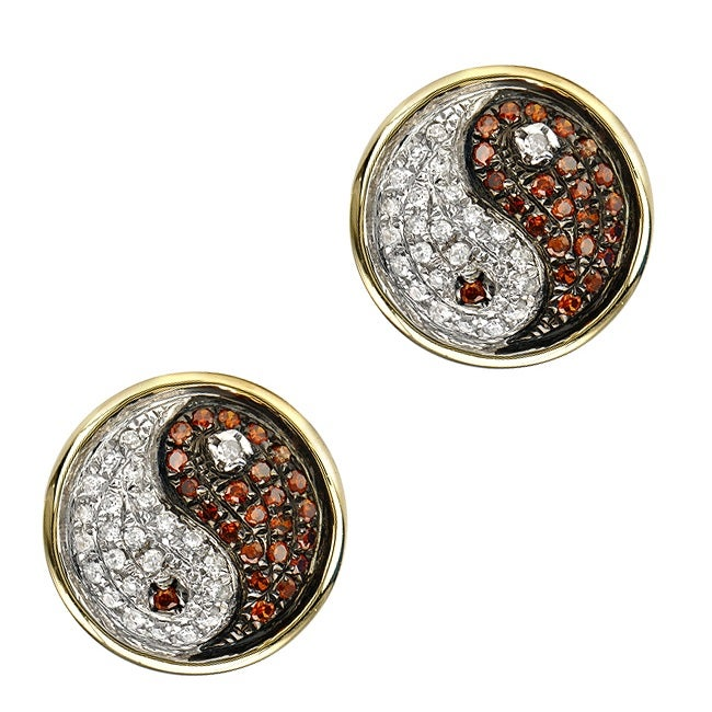 10k Gold 1/3 Ct White and Orange Diamond Earrings