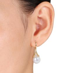Miadora Yellow Rhodium-plated Silver Pearl and Diamond Accent Earrings (H-I, I3) - Thumbnail 2
