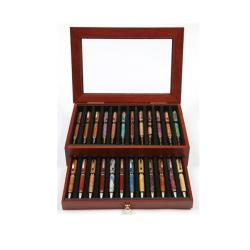 Lanier Rosewood Luxury Wood 24 Pen Capacity Display Case