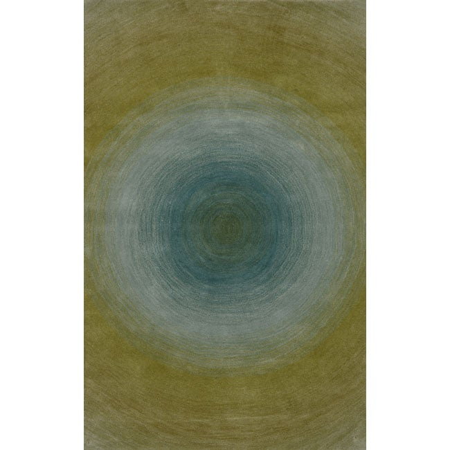 Hand-tufted Ripples Sunwater Wool Rug (2'3 x 8')