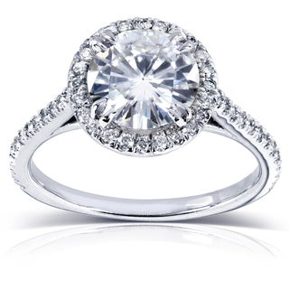 Annello by Kobelli 14k White Gold Round Moissanite and 1/4ct TDW Diamond Engagement Ring