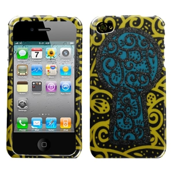INSTEN Black Key Hole Sparkle Phone Case Cover for Apple iPhone 4/ 4S