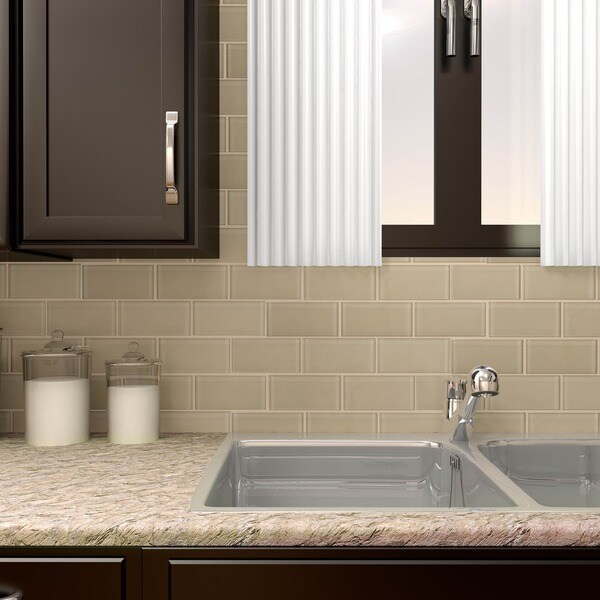 SomerTile 3x6-inch Reflections Sandstone Glass Mosaic Wall Tile (Case of 64)