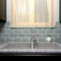 SomerTile 3x6-inch Reflections Subway Blue Smoke Glass Wall Tile (64 tiles/8 sqft.)