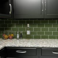 SomerTile 3x6-inch Reflections Subway Sage Glass Wall Tile (64 tiles/8 sqft.)