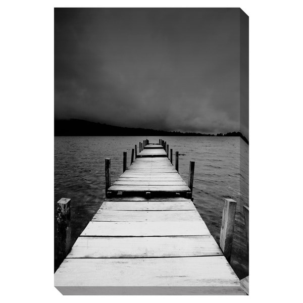Gallery Direct B/W Jetty View Oversized Gallery Wrapped Canvas