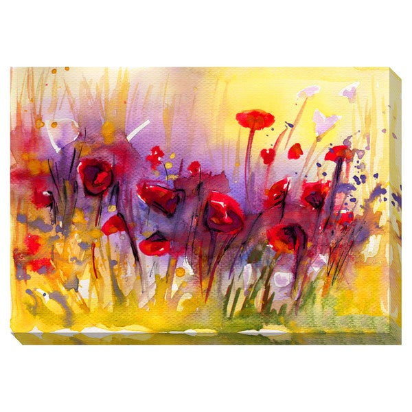 Gallery Direct Abstract Poppies Oversized Gallery Wrapped Canvas