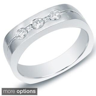 Auriya 14k Gold Men's 1/2ct TDW Round and Princess Diamond Ring (H-I, SI1-SI2)