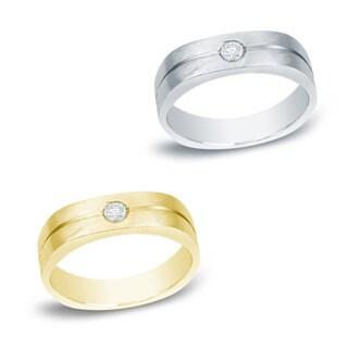 Auriya 14k Gold Men's 1/6ct TDW Round Diamond Solitaire Ring or Wedding Band