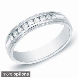 Auriya 14k Gold Men's 1ct TDW Channel-Set Diamond Ring Wedding Band