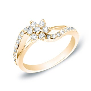 Auriya 14k Gold 1/2ct TDW Nature Inspired Diamond Flower Ring