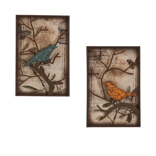 Pine Canopy Horace Vintage Bird Wall Panel 2-piece Set