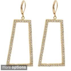NEXTE Jewelry Goldtone or Silvertone Rhinestone Trapezoid Shape Earrings