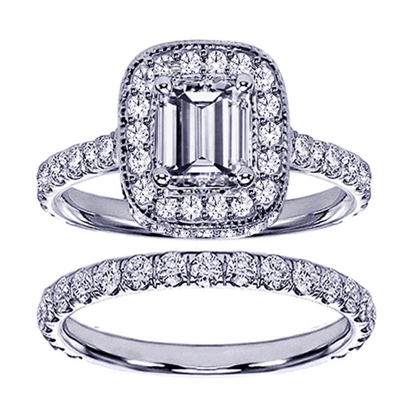 14k Gold 2 2/5ct TDW Emerald-cut Diamond Bridal Ring Set (F-G, SI1-SI2)