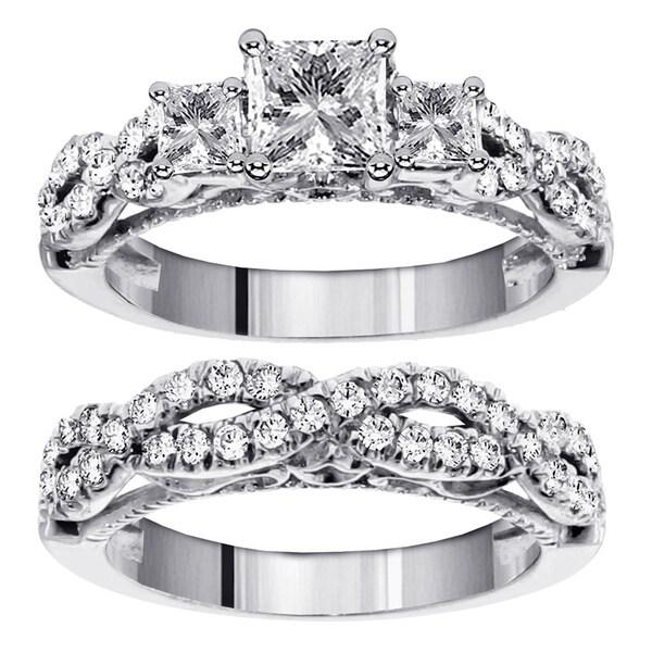 14k White Gold 2 1/2ct TDW Diamond 3-stone Bridal Ring Set (F-G, SI1-SI2)