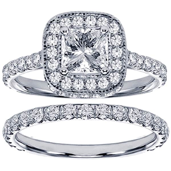 14k White Gold 2 3/4ct TDW Clarity Enhanced Princess Diamond Bridal Ring Set (F-G, SI1-SI2)