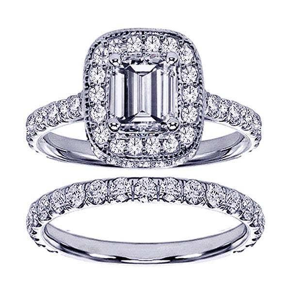 14k White Gold 2 3/4ct TDW Emerald-cut Clarity Enhanced Diamond Bridal Ring Set (F-G, SI1-SI2)