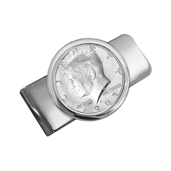 American Coin Treasures Silvertone Proof JFK Half Dollar Money Clip