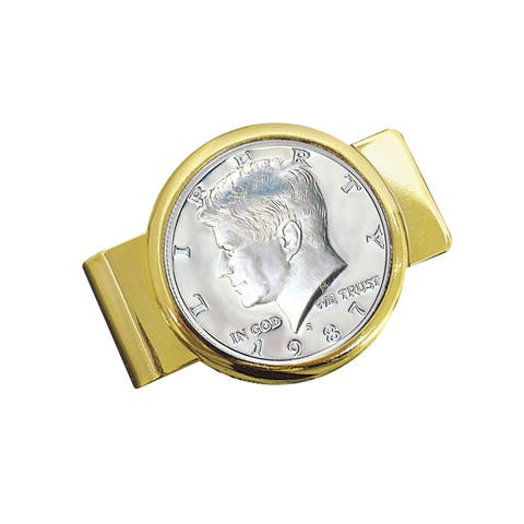 American Coin Treasures Goldtone Proof JFK Half Dollar Money Clip