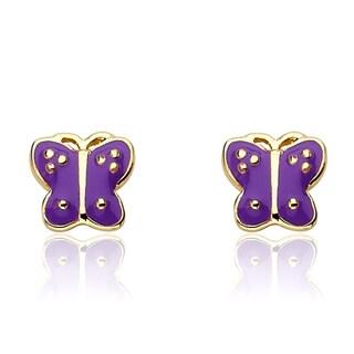 Little Miss Twin Stars Goldtone Children's Enamel Butterfly Earrings