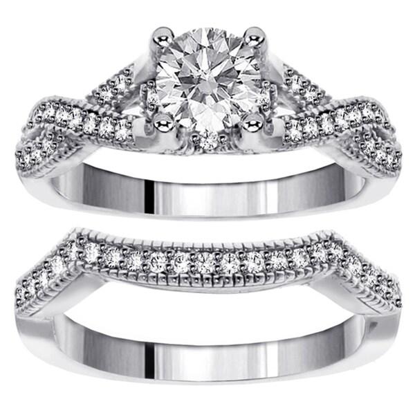 14k White Gold 1 1/6ct TDW Diamond Braided Bridal Ring Set (F-G, SI1-SI2)