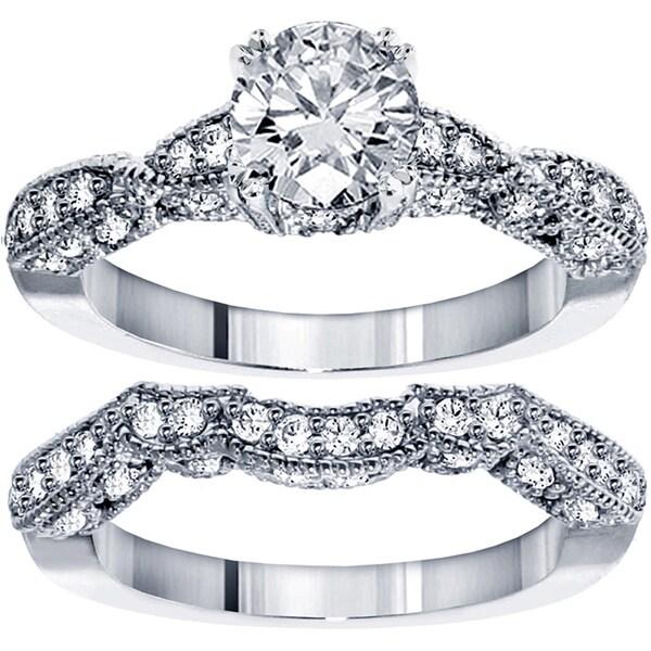 14k White Gold 2 3/8ct TDW Clarity Enhanced Diamond Bridal Ring Set (F-G, SI1-SI2)