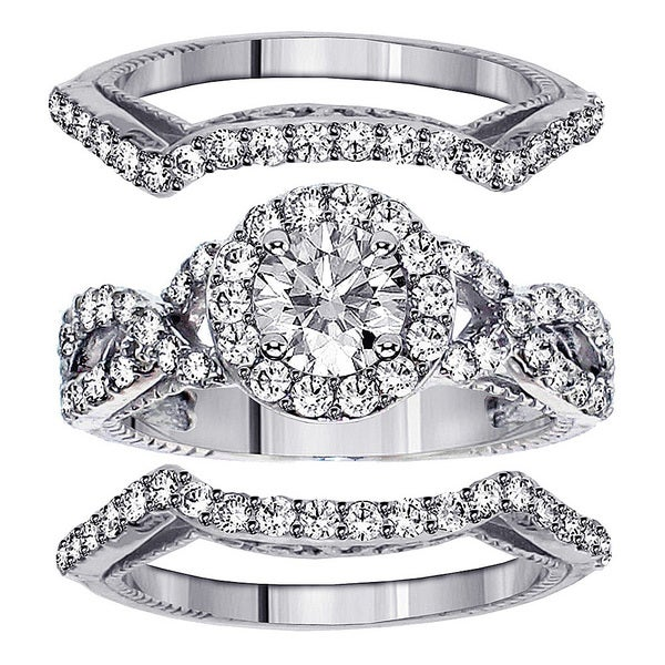 14k White Gold 2 7/8ct TDW Clarity Enhanced Diamond 3-piece Bridal Ring Set (F-G, SI1-SI2)