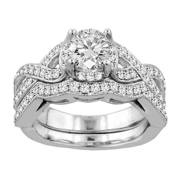 14k White Gold 2ct Tdw Diamond Braided Bridal Ring Set F G Si1 Si2