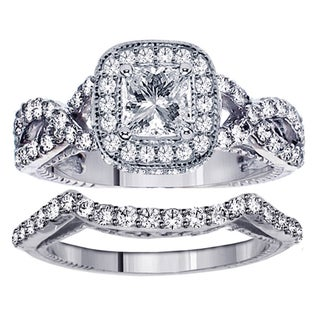 White Gold 2 3/4ct TDW Clarity Enhanced Princess Diamond Bridal Ring Set
