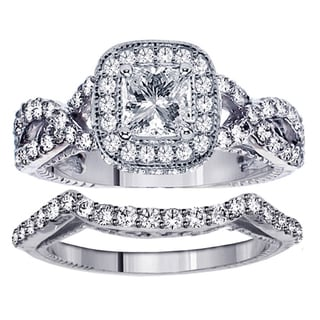 White Gold 2 3/4ct TDW Clarity Enhanced Princess Diamond Bridal Ring Set (G-H, SI1-SI2)