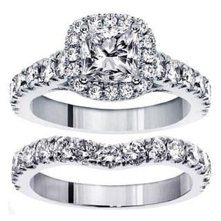 14k White Gold 3 1/3ct TDW Clarity Enhanced Diamond Halo Bridal Ring Set (G-H, SI1-SI2)