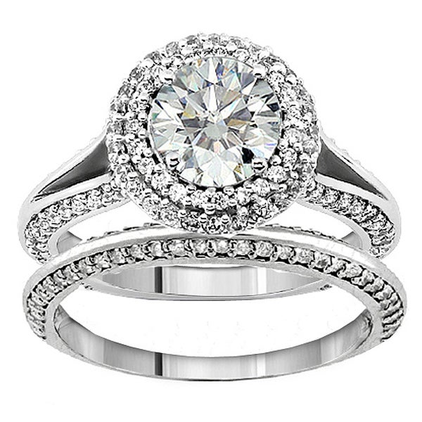 18k/14k Gold 2 ct TDW Diamond Halo Bridal Ring Set (G-H, SI1-SI2)