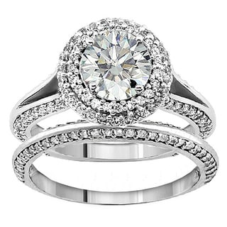 18k/ 14k White Gold 2ct TDW Diamond Double Halo Bridal Ring Set (G-H, SI1-SI2)