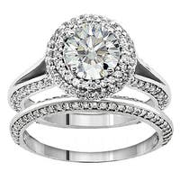 14k White Gold 2ct TDW Diamond Double Halo Bridal Ring Set