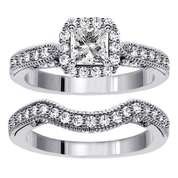 14k White Gold 2 1/3ct TDW Clarity Enhanced Diamond Halo Bridal Ring Set (F-G, SI1-SI2)