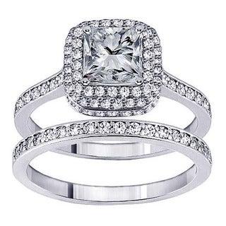 14k White Gold 2ct TDW Princess Diamond Bridal Ring Set (F-G, SI1-Si2)