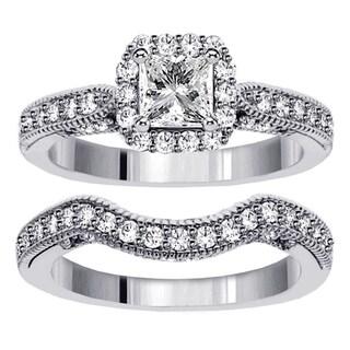 White Gold or Platinum 2ct TDW Princess Diamond Halo Bridal Ring Set (F-G, SI1-SI2)