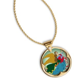 American Coin Treasures 14k Gold Overlay Heavenly Angel JFK Half Dollar and Crystal Necklace
