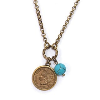 American Coin Treasures Civil War Indian Head Coin and Turquoise Bead Necklace