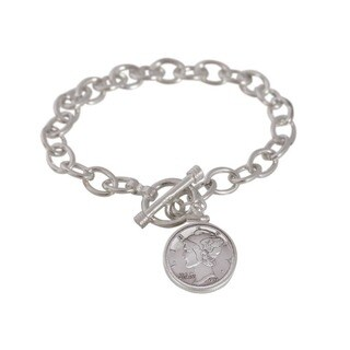 American Coin Treasures Sterling Silver Mercury Dime Toggle Bracelet