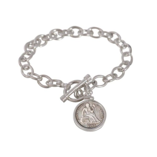 American Coin Treasures Sterling Silver Civil War Coin Toggle Bracelet