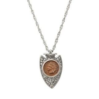 American Coin Treasures Silvertone Civil War Coin Arrowhead Necklace