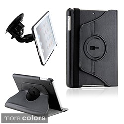 Gearonic Duel Function 360 Degree Rotating PU Leather Case Cover with Car Mount for iPad Mini
