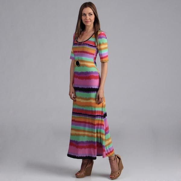24/7 Comfort Apparel Women's Multi-colored Striped Maxi Dress