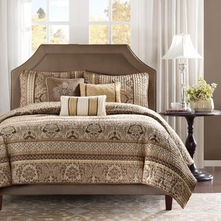 Madison Park Venetian 6-piece Brown/ Gold Coverlet Set