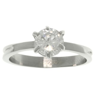 Carolina Glamour Collection Stainless Steel CZ Solitaire Ring